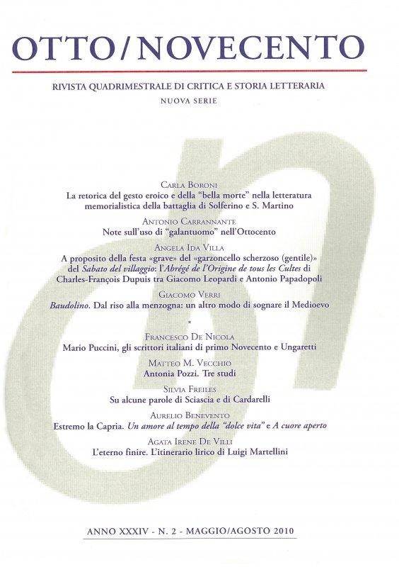Otto/Novecento - ANNO XXXIV N. 2/2010